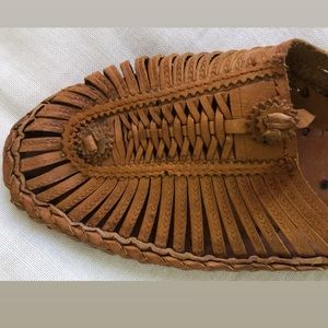 Woven leather flats from Nepal
